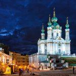 St. Andrew em Kiev à noite